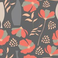 Padrão sem emenda com elementos florais em cinza vetor