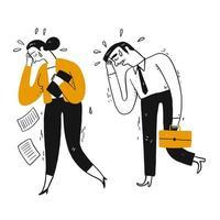 Empresário e colega de trabalho estão chorando ou camisola