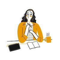 Jovem mulher pensando em sua mesa de escritório vetor