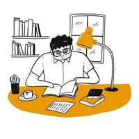 Homem dos desenhos animados, lendo um livro vetor