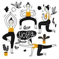 Mulheres em poses de ioga vetor
