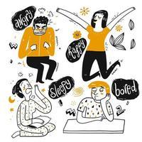 Conjunto de pessoas dos desenhos animados, mostrando emoção vetor