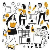 Pessoas dos desenhos animados no supermercado vetor