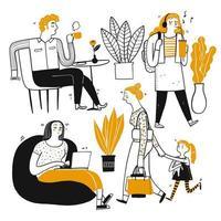 Desenhos animados de compras e no café vetor