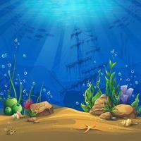 Paisagem de vida marinha com naufrágio