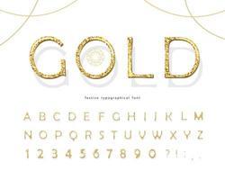 Fonte 3d glitter dourados. Números e letras douradas de luxo Abc. vetor