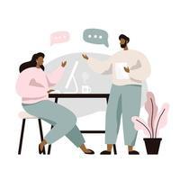 Duas pessoas sentadas à mesa e discutindo ideias vetor
