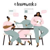 Brainstorming e trabalho em equipe, pessoas discutindo idéias vetor