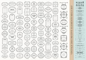 Mega conjunto de elementos de design vintage - quadros fronteiras divisórias placas de sinalização coroas. vetor
