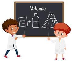 Estudante experimento de ciência de vulcão