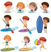 Personagem de verão crianças em fundo branco vetor