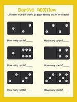 Planilha matemática de contagem de dominó vetor