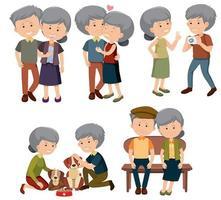 Um conjunto de casal de idosos vetor