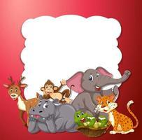 Animais selvagens no quadro vermelho vetor