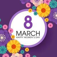 Dia da mulher cartão roxo com flores e moldura de círculo vetor