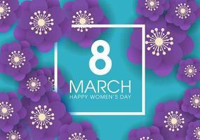 Banner do dia da mulher com flores e moldura quadrada vetor