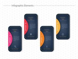 Design de modelo de cartão de opção infográfico quatro vetor