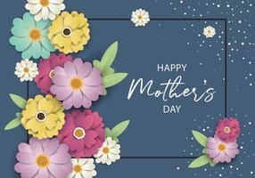 Dia das mães Banner Design com moldura e flores vetor