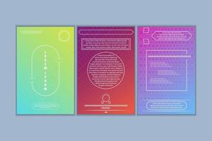 Conjunto de cartões com formas geométricas e gradiente