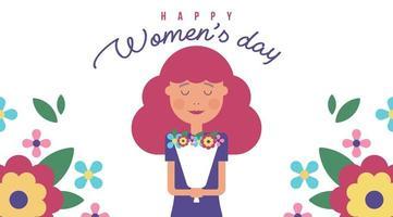 Ilustração do dia da mulher com menina e flores