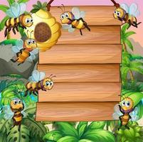 Placa de madeira com abelha voando no jardim vetor