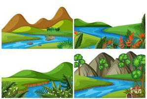 Um conjunto de cena ao ar livre, incluindo rio