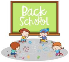 Volta para a escola Banner com alunos