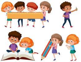 Conjunto de crianças em idade escolar vetor