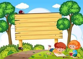 As crianças estudam na natureza e tabuleta vetor