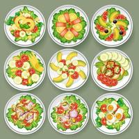 Conjunto de diferentes saladas vetor