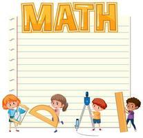 Papel em branco com crianças e equipamentos de matemática vetor