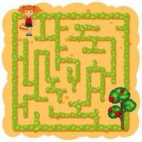 Uma garota colhendo labirinto de frutas vetor