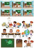 Conjunto de crianças em sala de aula vetor