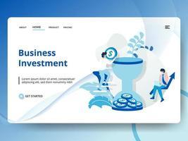 investimento comercial da página de destino vetor