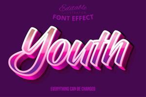 Efeito de fonte de tipografia editável script juventude moderna vetor