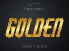 Texto dourado, efeito de fonte editável vetor