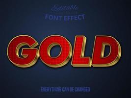 Texto de ouro, efeito fonte editável vetor
