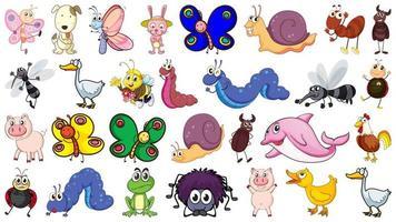 Conjunto de caracteres de animais e insetos