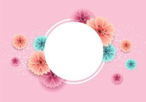 Banner de primavera com lindas flores e quadro de círculo vetor