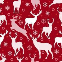 Padrão sem emenda de Natal com rena e floco de neve em fundo vermelho vetor