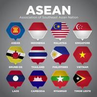 Bandeiras da nação do ponto do Pin de ASEAN vetor