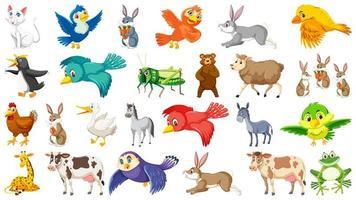 Conjunto de caracteres de animais e pássaros vetor