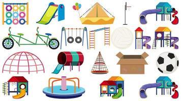 Conjunto de equipamentos de playground vetor