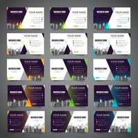 Conjunto de cartão de visita com várias cores alternativas vetor