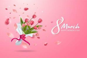 8 de março cartão. Dia Internacional da Mulher Feliz