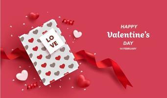 Feliz dia dos namorados cartão de presente caixa vetor