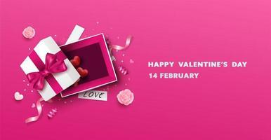 Feliz dia dos namorados aberto Design de caixa de presente vetor