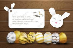 Feliz Páscoa ovos em fundo de madeira vetor