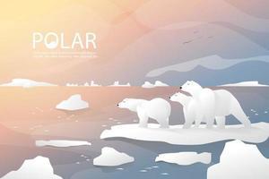 Família e urso polar estão de pé no fundo do gelo