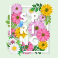 Carta de primavera com lindas flores e folhas